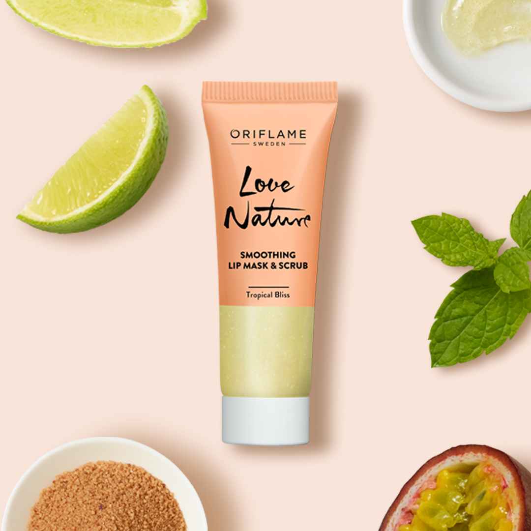 ماسک و اسکراب لب لاونیچر اوریفلیم LOVE NATURE Smoothing Lip Mask & Scrub Tropical Bliss Oriflame