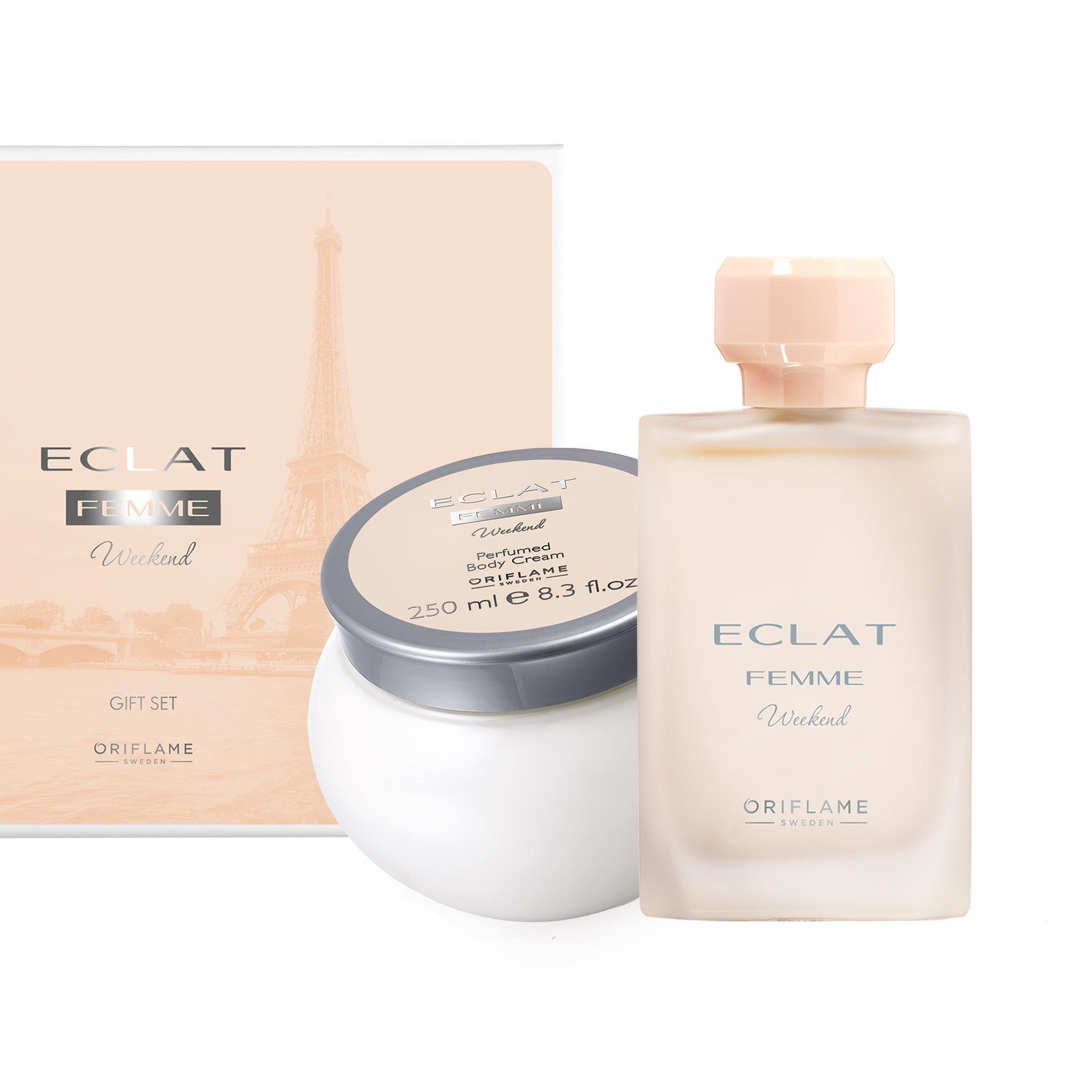 ست کرم بدن و ادوتویلت زنانه اکلت اوریفلیم ECLAT Femme Gift Set Oriflame