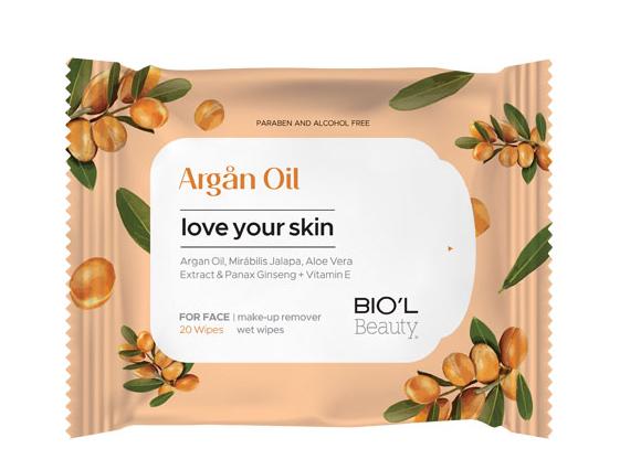 دستمال مرطوب بیول مدل Argan Oil با عصاره روغن آرگان 20 عددی
