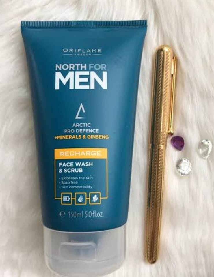 اسکراب و فیس واش مردانه نورث فورمن اوریفلیم NORTH FOR MEN Recharge Face Wash & Scrub Oriflame