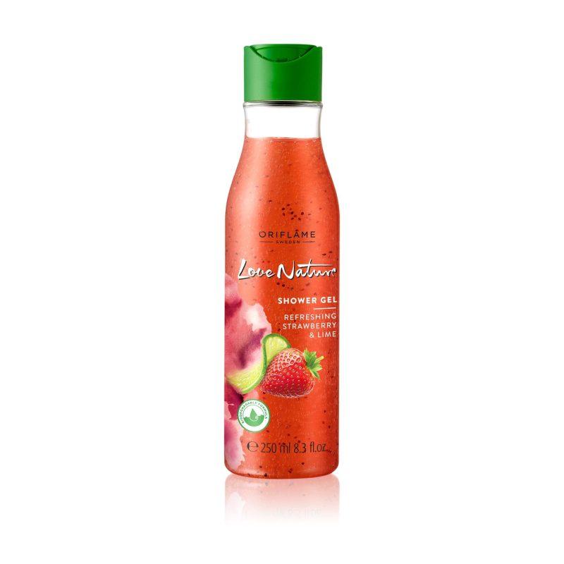 شامپو بدن لایه بردار توت فرنگی و لیمو لاونیچر اوریفلیم LOVE NATURE Exfoliating Shower Gel Refreshing Strawberry & Lime Oriflame
