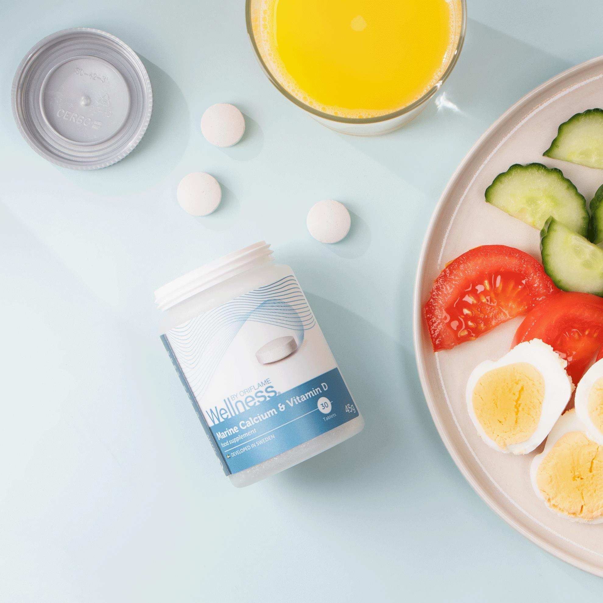 مکمل کلسیم و ویتامین دی ولنس بای اوریفلیم WELLNESS BY ORIFLAME Marine Calcium & Vitamin D Oriflame