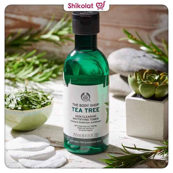 تونر مات کننده پوست تی تری بادی شاپ حجم 250 میل حاوی روغن درخت چای Body Shop Tea Tree Skin Clearing Mattifying Toner