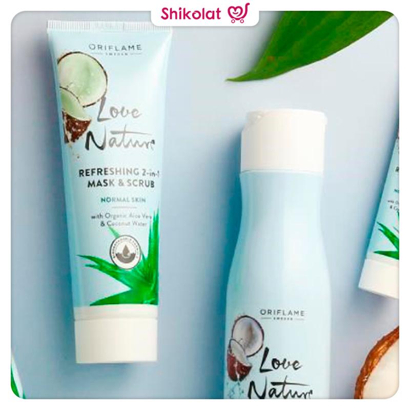 ماسک و لایه بردار آلوئه ورا و آب نارگیل لاونچیر اوریفلیم LOVE NATURE Refreshing 2-in-1 Mask & Scrub with Organic Aloe Vera & Coconut Water Oriflame
