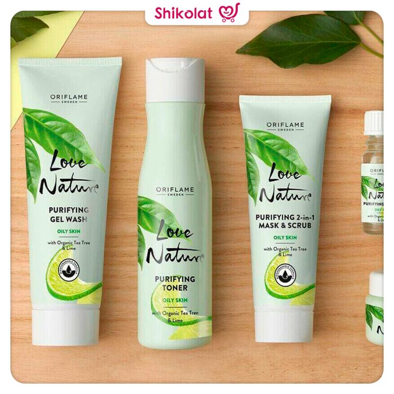 ماسک اسکراب لیمو و چای لاونیچر اوریفلیم LOVE NATURE Purifying 2-in-1 Mask & Scrub with Organic Tea Tree & Lime