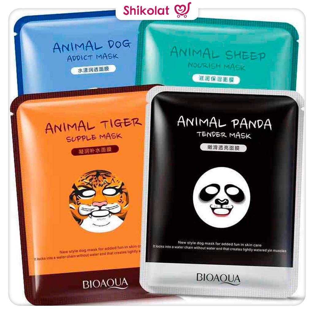 ماسک ورقه ای حیوانات بیوآکوا Cute Animal Face Masks Nourish Sheep/ Tender Panda/ Addict Dog/ Supple Tiger BioAqua