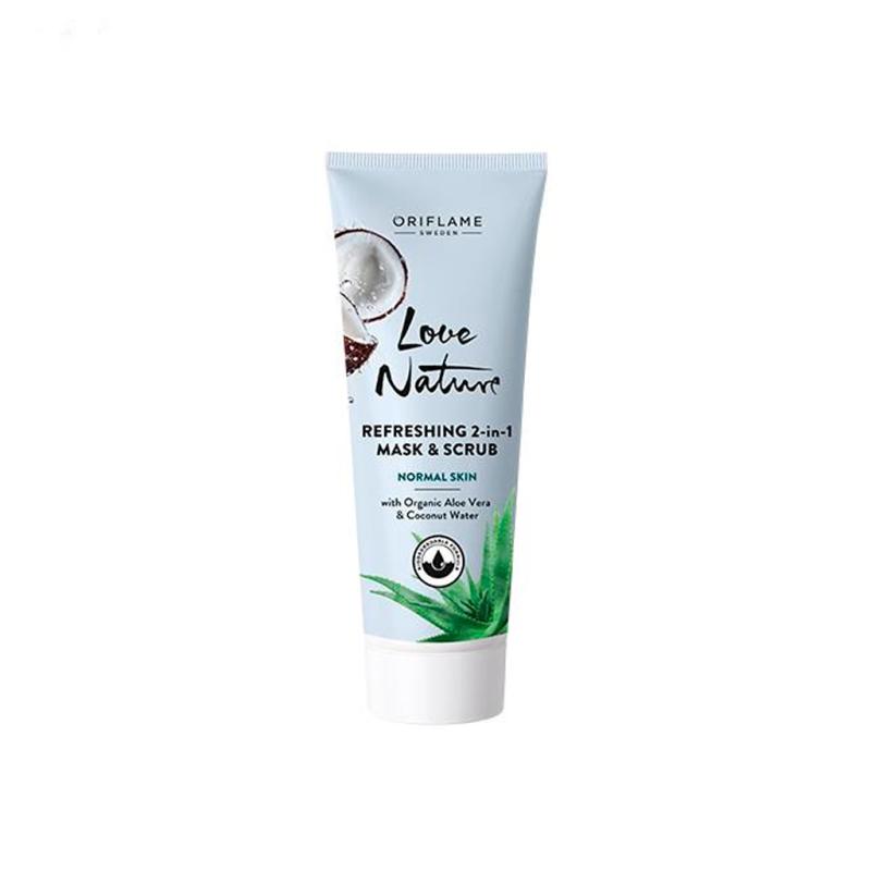 ماسک و اسکراب آلوئه ورا و آب نارگیل لاونچیر اوریفلیم LOVE NATURE Refreshing 2-in-1 Mask & Scrub with Organic Aloe Vera & Coconut Water Oriflame