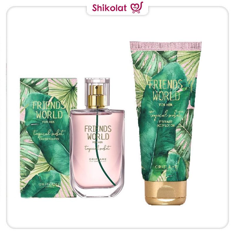 لوسیون بدن فرندز ورلد اوریفلیم FRIENDS WORLD TROPICAL SORBET For Her Tropical Sorbet Perfumed Body Lotion Oriflame