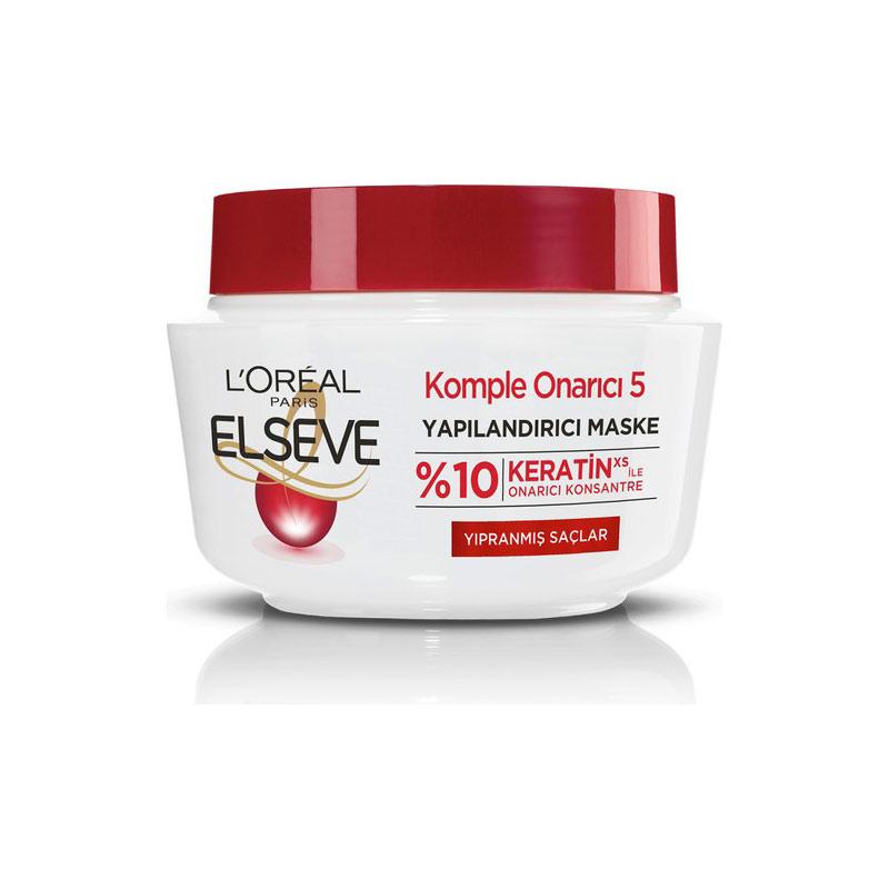 ماسک مو لورآل برای موهای آسیب دیده مدل KOMPLE ONARICI 5 حجم 300 میل LOREAL ELSEVE Komple Onarici 5