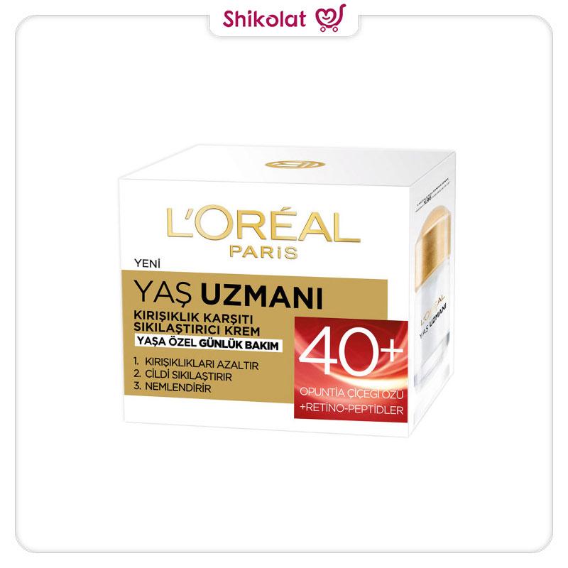 کرم ضد چروک و سفت کننده +40 سال لورآل سری YAS UZMANI حجم 50 میل L'Oréal Paris Yaş Uzmanı 40+ Kırışıklık Karşıtı Sıkılaştırıcı Krem