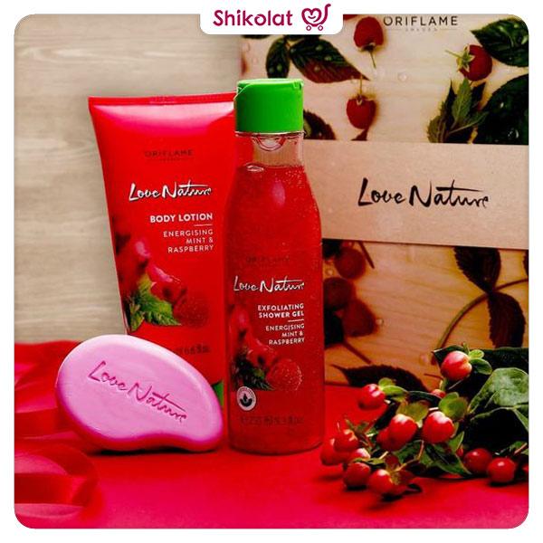 صابون انرژی بخش لاونیچر اوریفلیم رایحه تمشک و نعناع وزن 75 گرم Love Nature Soap Bar Energising Mint & Raspberry Oriflame