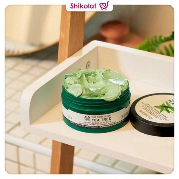 ماسک خاک رس تی تری بادی شاپ حجم 100 میل حاوی روغن درخت چای The Body Shop Tea Tree Skin Clearing Clay Face Mask