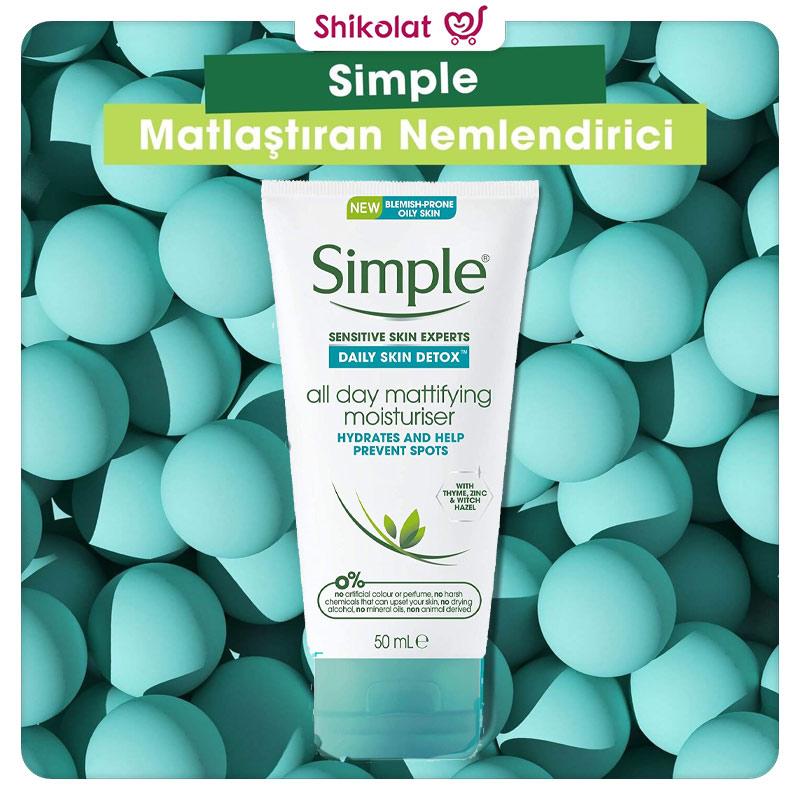 مرطوب کننده و مات کننده پوست چرب سیمپل حجم 50 میل Simple Daily Skin Detox All Day Mattifying Moisturiser