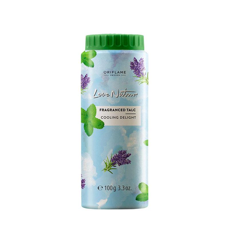 پودر تالک لاونیچر اوریفلیم کولینگ دلایت رایحه استخودوس و نعنا وزن 100 گرم Love Nature Fragranced Talc Cooling Delight Oriflame
