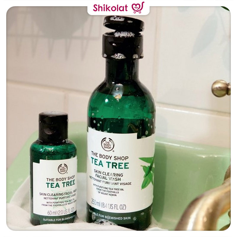 ژل شستشو صورت تی تری بادی شاپ حاوی عصاره درخت چای حجم 60 میل The Body Shop Tea Tree Skin Clearing Facial Wash 60ML