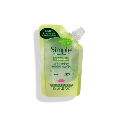 ژل شستشوی صورت سیمپل شاداب کننده پوست حجم 50 میل Simple Refreshing Facial Wash Pouch