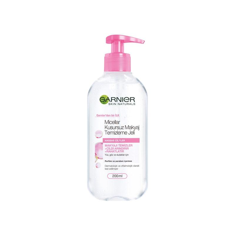 ژل میسلار گارنیر صورتی مخصوص پوست حساس گارنیر حجم 200 میلی لیتر Garnier Micellar Gel Cleansing For Sensitive Skin