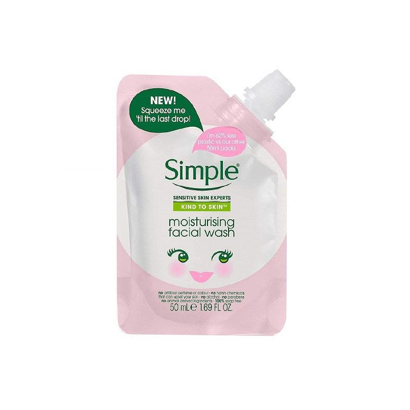 ژل پاککننده و آبرسان صورت سیمپل مدل پاکتی رنگ صورتی حجم 50 میل Simple Mini Pouch Moisturising Facial Wash