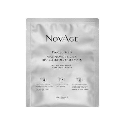 ماسک ورقه ای پروسیتکالز نوایج اوریفلیم حاوی نیاسینامید و سیکا Oriflame NOVAGE ProCeuticals Niacinamide & Cica Bio-Cellulose Sheet Mask