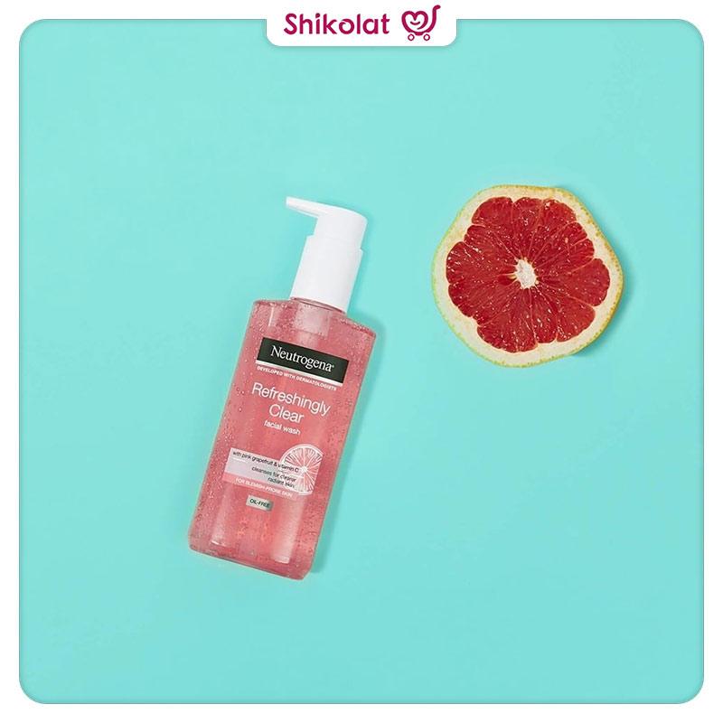 ژل شستشو صورت نوتروژینا حاوی عصاره گریپ فروت حجم 200 میل Neutrogena Refreshingly Clear Facial Wash With Pink Grapefruit