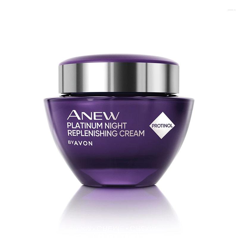 کرم شب بازسازی کننده پلاتین آون حاوی پروتینول حجم 50 میل Avon Anew Platinum Night Replenishing Cream